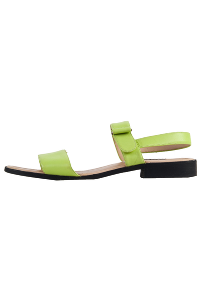 lime green leather sandals