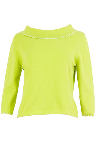 Lime green wide neck sweater