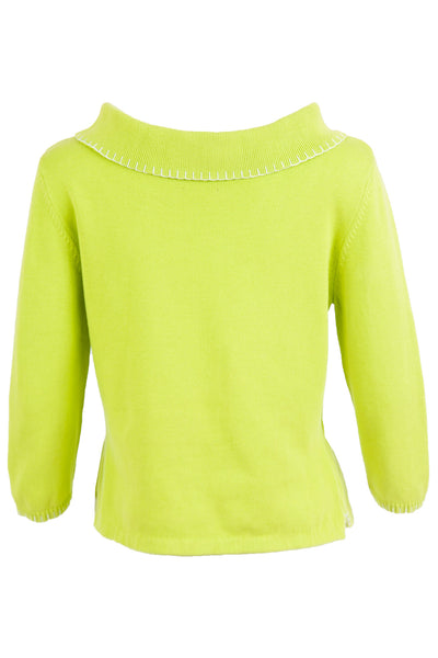 vintage lime green sweater with wide neck