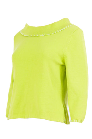 neon green wide neck sweater