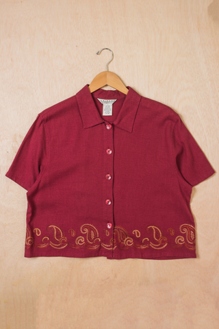 vintage red linen cropped shirt with paisley embroidery