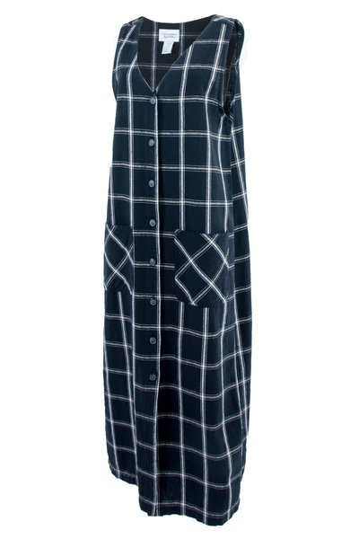 Black and white grid maxi dress with front button closure