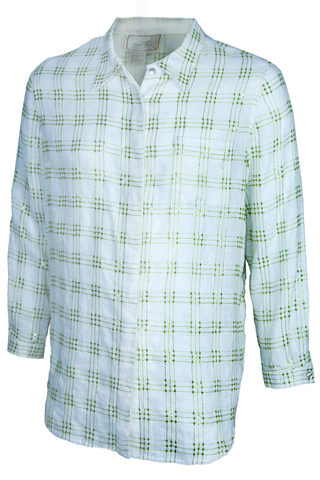 white linen shirt with green plaid sequins