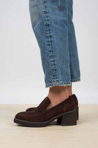 vintage brown suede loafer heels