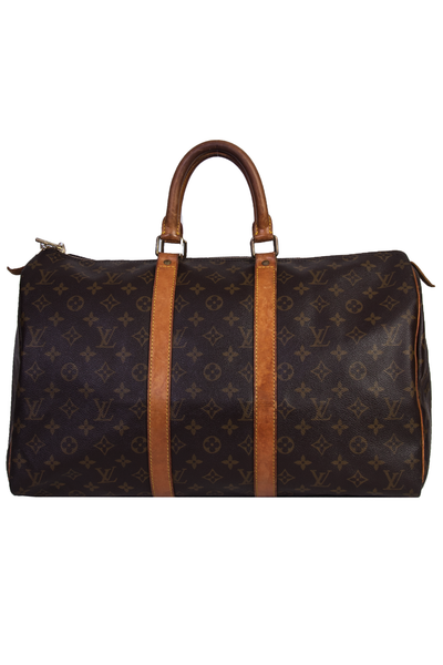 Louis Vuitton Keepall 45 Leather bag with signature monogram