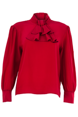Red silk blouse with ruffle at neck