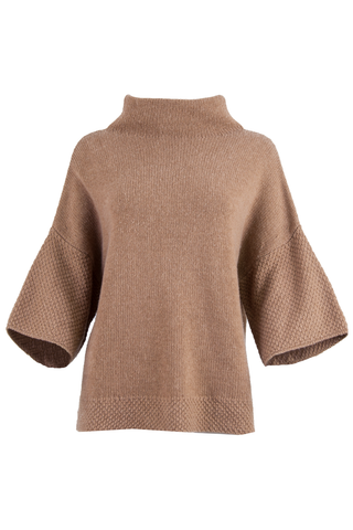 short sleeve camel sweater