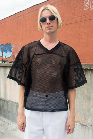 vintage mesh jersey top in black