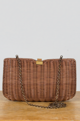 vintage brown basket crossbody bag