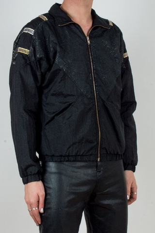 vintage 1980's metallic windbreaker in black