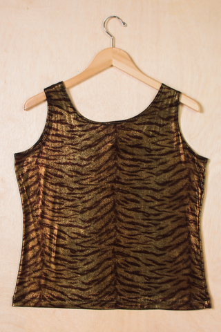 vintage metallic animal print top