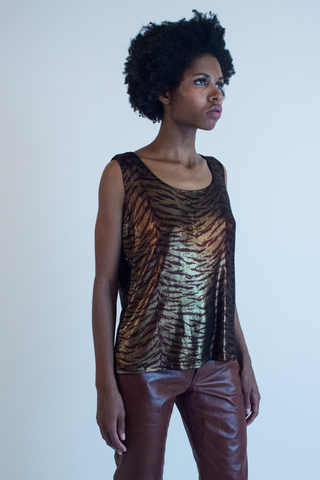 vintage metallic animal print tank top