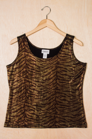 vintage choco's metallic zebra tank top