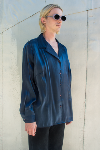 metallic midnight blue button up shirt