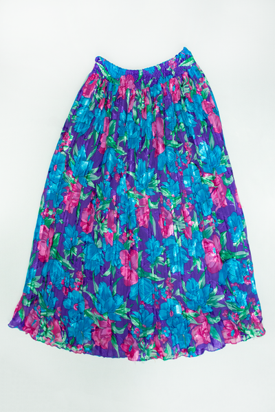 metallic 1980's skirt with flowers