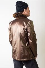 Metallic gold vintage jacket with fur collar