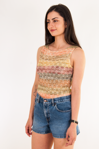 vintage daisy knit tank top with metallic threading