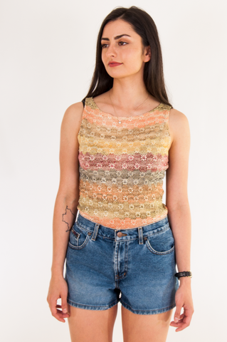 metallic knit 90s tank top in multi-color
