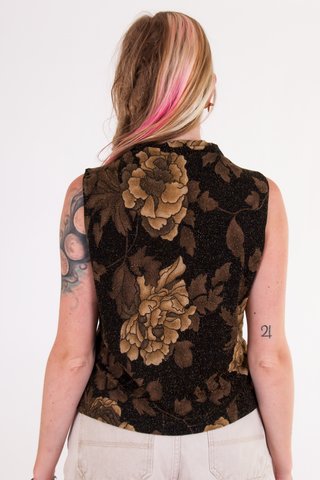 Vintage metallic floral mock neck tank top