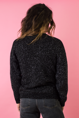 vintage black sweater with metallic silver threading