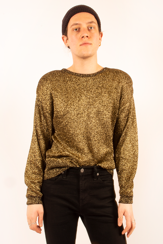 vintage metallic gold sweater from the 1980s