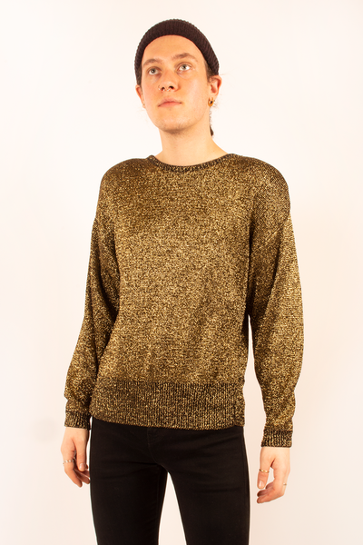 vintage metallic gold sweater