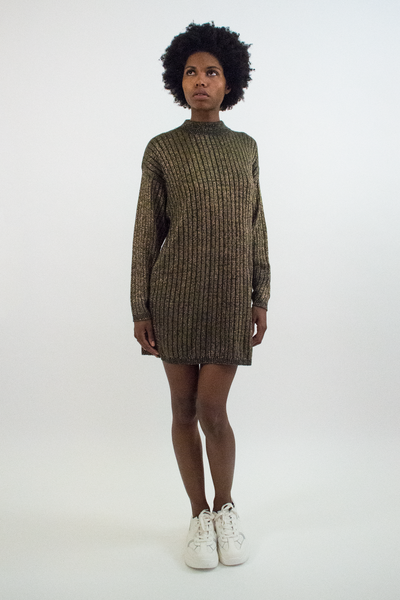 gold vintage sweater dress with white sneaker