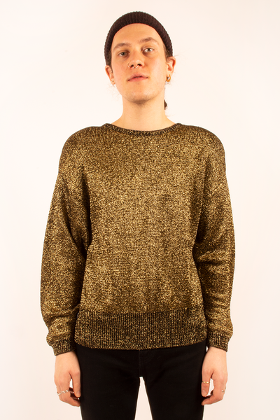 vintage gold glitter sweater
