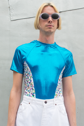 metallic disco shirt in blue