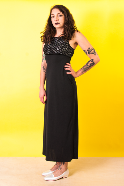 vintage black maxi dress with metallic top