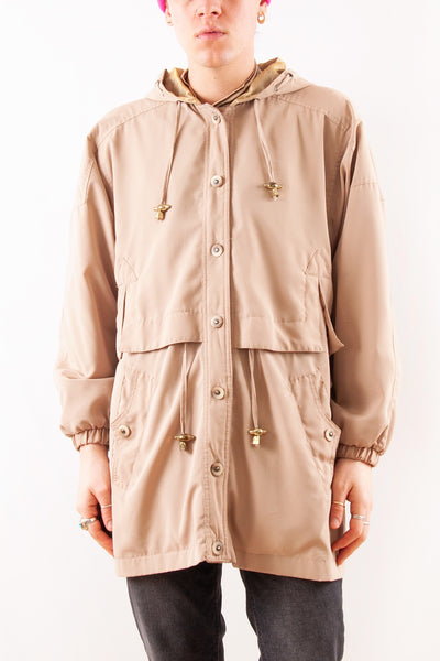 Raincoat with Metallic Hood in tan