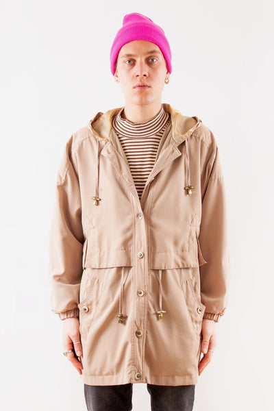 Vintage Raincoat with Metallic Hood in tan