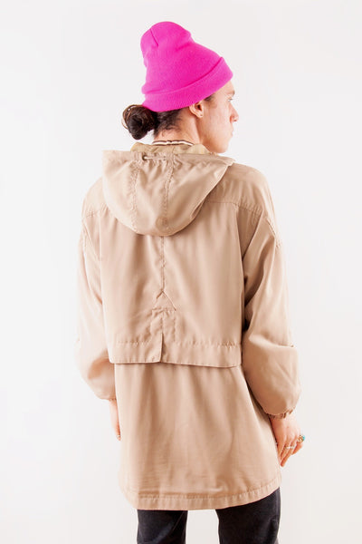 Tan Vintage Raincoat with Metallic Hood