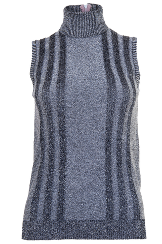 silver metallic turtleneck tank top with stripes