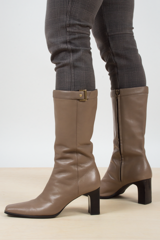 vintage tan high heeled boots