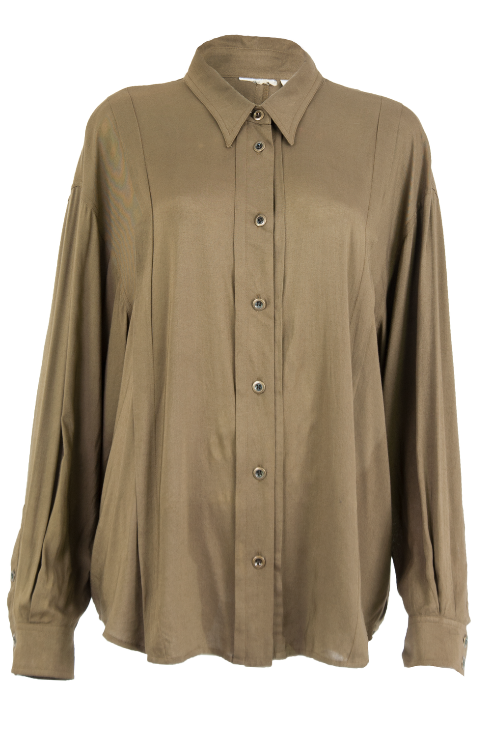 Vintage olive green silky button up featuring pleated front.