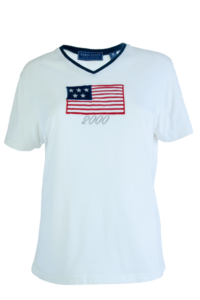 Vintage White v-neck tee with navy trim American flag patch at bust and silver threaded '2000' decal beneath.
