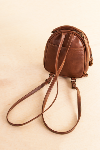 vintage faux leather brown mini backpack