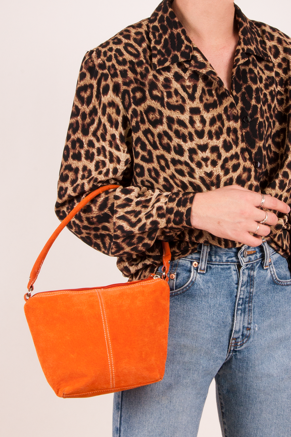 vintage orange suede mini bag from the 90's