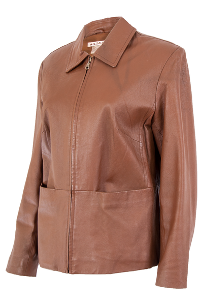 vintage brown leather jacket with oversized pockets