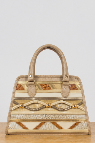 vintage mini embellished handbag in cream and gold multi