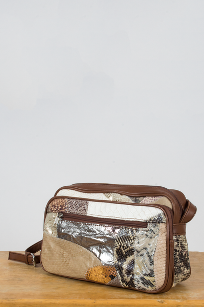 metallic patchwork vintage snakeskin bag