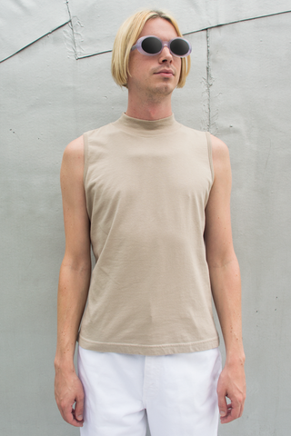 beige mock neck tank top