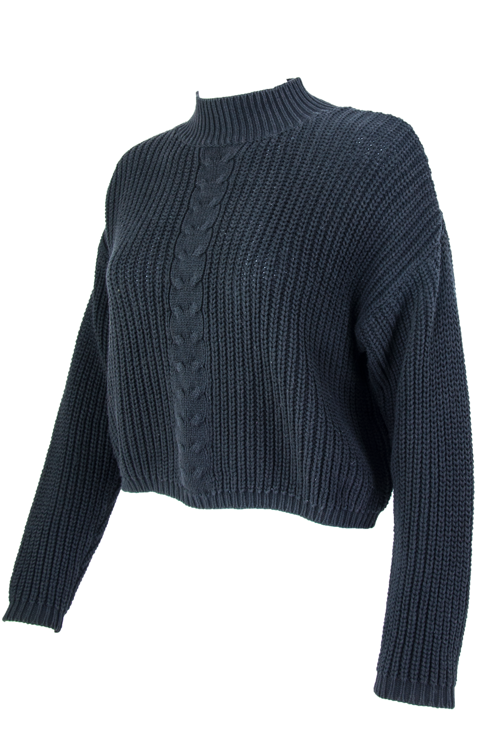 black vintage sweater with mock neck and cropped length