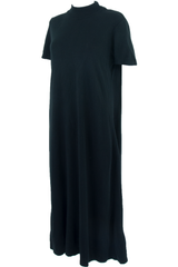 Vintage black maxi dress with mockneck and short sleeves