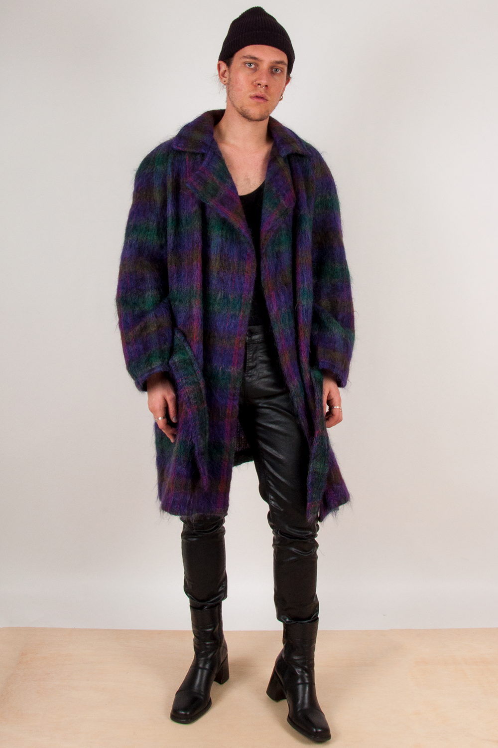 vintage purple and multicolor plaid mohair overcoat with belt