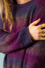 vintage purple ombre mohair sweater and sterling silver rings