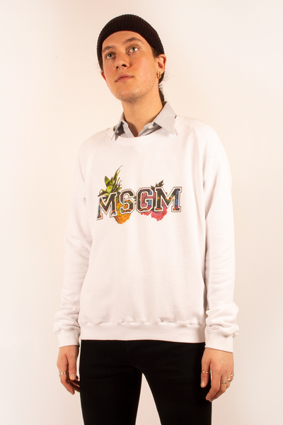 msgm white spell out sweatshirt with tropical design