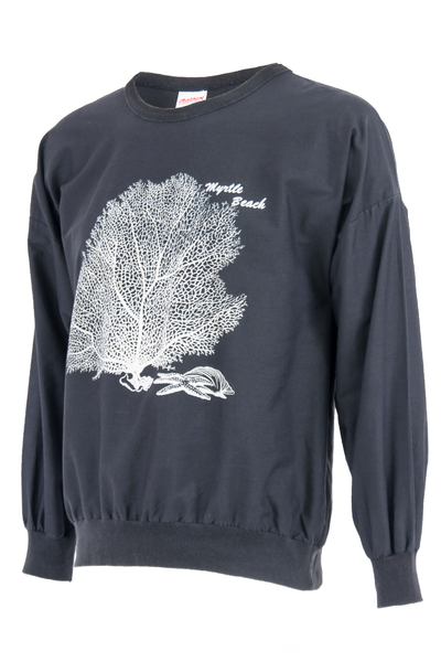 vintage sweatshirt with myrtle beach graphic and tree