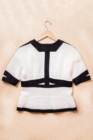 white and black Narciso Rodriguez linen zipper top